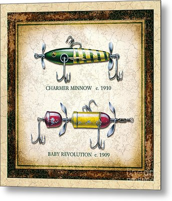 Antique Lure Panel One Metal Print by JQ Licensing Jon Q Wright