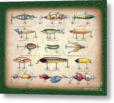Antique Lures Panel Metal Print by JQ Licensing