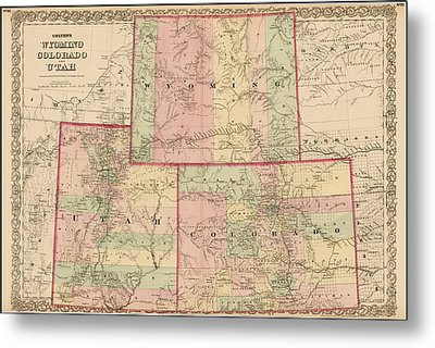Antique Map - Colton's Wyoming Colorado And Utah 1876 Metal Print
