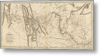 Antique Map - Lewis And Clark's Track Across North America Metal Print