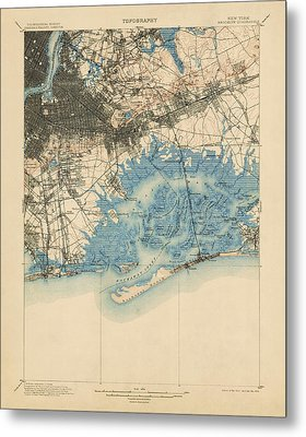Metal Print featuring the drawing Antique Map Of Brooklyn And Queens - New York City - Usgs Topographic Map - 1900 by Blue Monocle