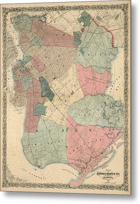 Metal Print featuring the drawing Antique Map Of Brooklyn - New York City - By M. Dripps - 1868 by Blue Monocle