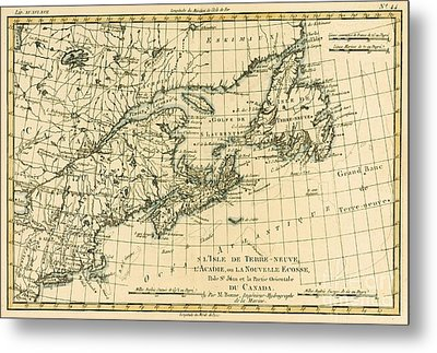 Antique Map Of Eastern Canada Metal Print