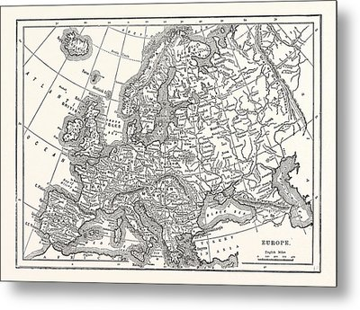 Antique Map Of Europe Metal Print by English School