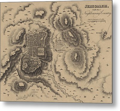Antique Map Of Jerusalem Metal Print