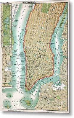 Antique Map Of Lower Manhattan And Central Park Metal Print