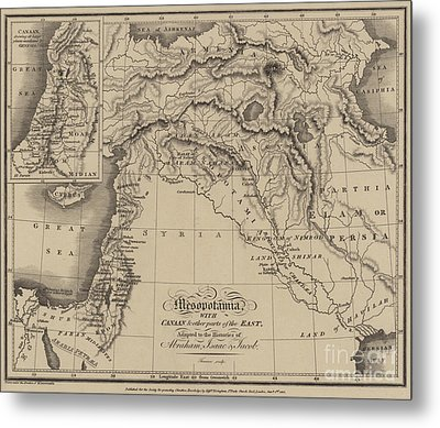 Antique Map Of Mesopotamia With Canaan And Other Parts Of The Middle East Metal Print