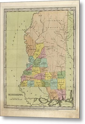 Metal Print featuring the drawing Antique Map Of Mississippi By David Burr - 1835 by Blue Monocle