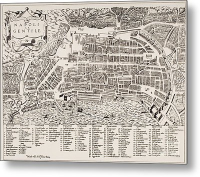 Antique Map Of Naples Metal Print by Italian School