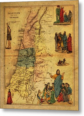 Antique Map Of Palestine 1856 On Worn Parchment Metal Print