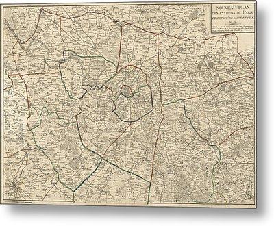Metal Print featuring the drawing Antique Map Of Paris France And Surroundings By Jacques Esnauts - 1811 by Blue Monocle