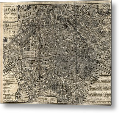 Metal Print featuring the drawing Antique Map Of Paris France By Nicolas De Fer - 1705 by Blue Monocle