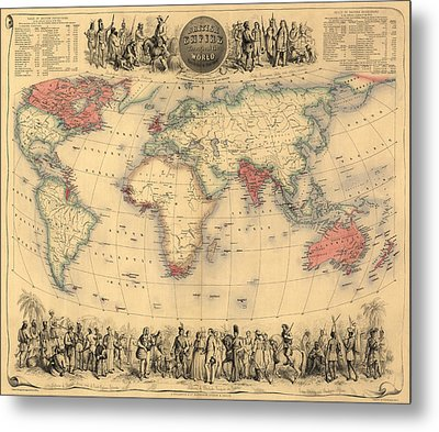 Antique Map Of The British Empire Circa 1870 Metal Print