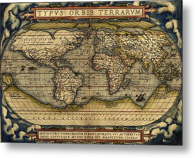 Antique Map Of The World By Abraham Ortelius - 1564 Metal Print by Marianna Mills