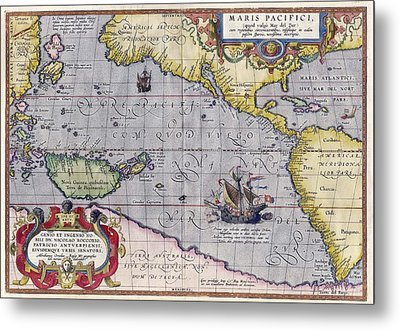 Antique Map Of The World By Abraham Ortelius - 1589 Metal Print by Marianna Mills