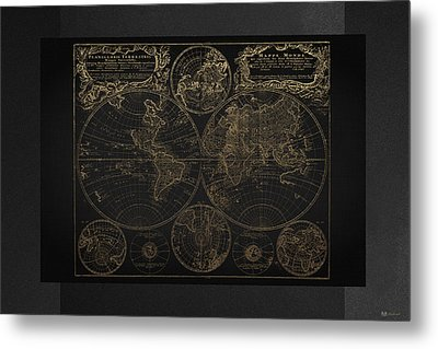 Antique Map Of The World - Gold On Black Canvas Metal Print