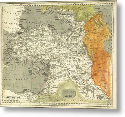 Antique Map Of Turkey Metal Print by Celestial Images