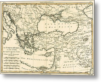 Antique Map Of Turkey Metal Print