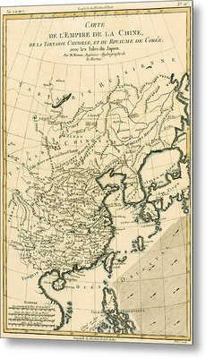 Antique Map The Chinese Empire Metal Print by Guillaume Raynal