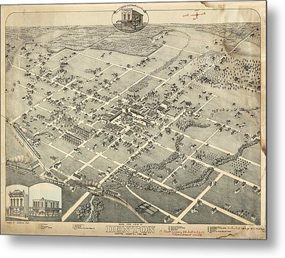 Antique Maps - Old Cartographic Maps - Antique Birds Eye View Map Of Denton, Texas, 1883 Metal Print