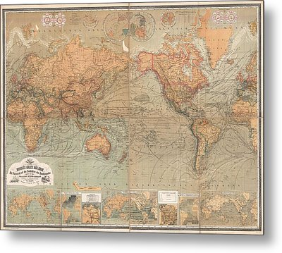 Antique Maps - Old Cartographic Maps - Antique German Map Of The World, 1870 Metal Print