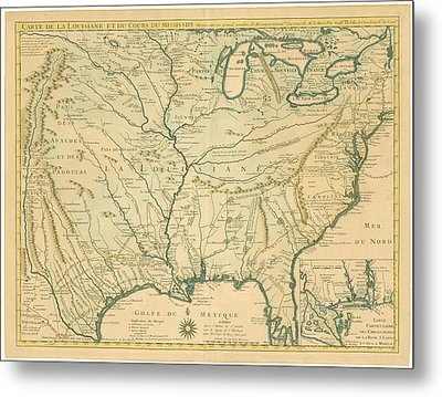 Antique Maps - Old Cartographic Maps - Antique Map Of Louisiana - Course Of Mississippi, 1718 Metal Print