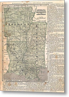 Antique Maps - Old Cartographic Maps - Antique Map Of Louisiana, Mississippi And Arkansas Metal Print