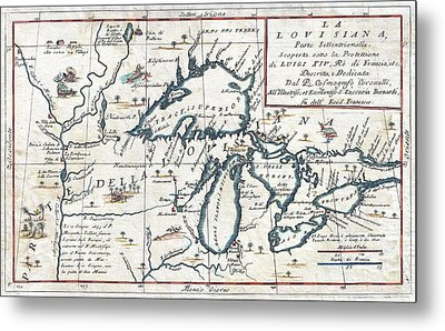 Antique Maps - Old Cartographic Maps - Antique Map Of The Great Lakes, 1696 Metal Print