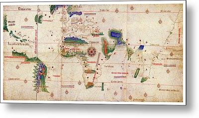 Antique Maps - Old Cartographic Maps - Antique Map Of The World, 1502 Metal Print