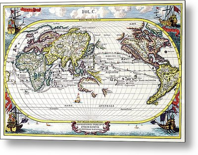 Antique Maps - Old Cartographic Maps - Antique Map Of The World, 1700 Metal Print
