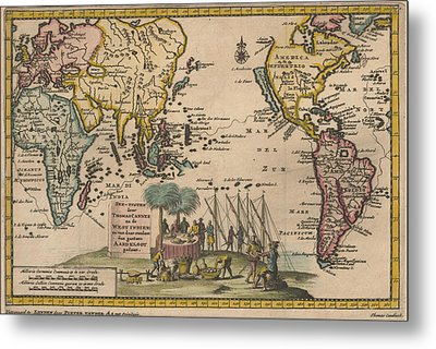 Antique Maps - Old Cartographic Maps - Antique Map Of The World, 1707 Metal Print