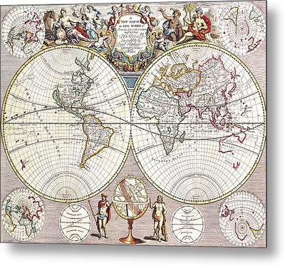 Antique Maps - Old Cartographic Maps - Antique Map Of The World, 1721 Metal Print
