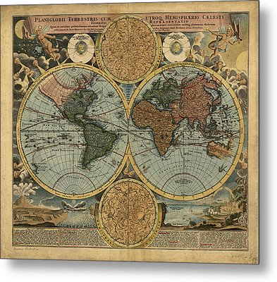 Antique Maps - Old Cartographic Maps - Antique Map Of The World, Double Hemisphere, Globe Metal Print