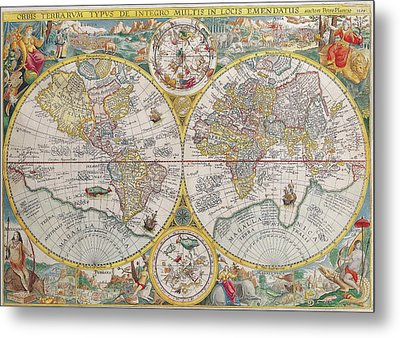 Antique Maps - Old Cartographic Maps - Antique Map Of The World, Double Hemisphere Map, 1599 Metal Print