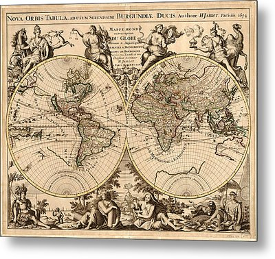 Antique Maps - Old Cartographic Maps - Antique Map Of The World - Double Hemisphere Map Metal Print