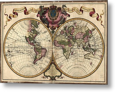 Antique Maps - Old Cartographic Maps - Antique Map Of The World, Double Hemisphere - Mappemonde Metal Print