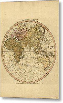 Antique Maps - Old Cartographic Maps - Antique Map Of The World - Eastern Hemisphere Map Metal Print