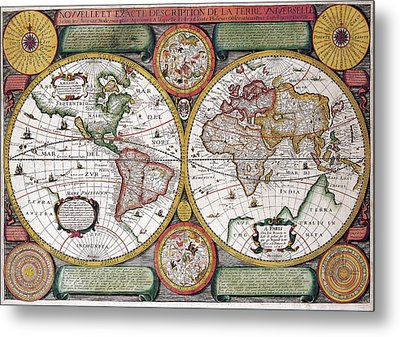 Antique Maps - Old Cartographic Maps - Antique Map Of The World, Globe, 1646 Metal Print
