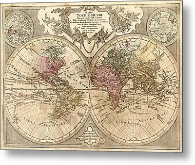 Antique Maps - Old Cartographic Maps - Antique Map Of The World, Globe - Mappa Mundi Metal Print