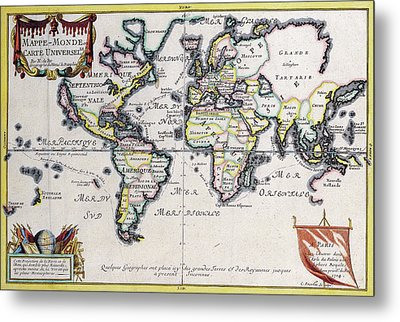 Antique Maps - Old Cartographic Maps - Antique Map Of The World In Latin, 1724 Metal Print