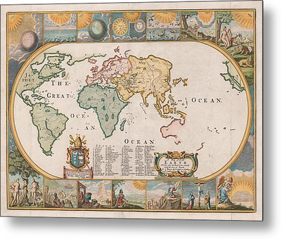 Antique Maps - Old Cartographic Maps - Antique Map Of The World Metal Print