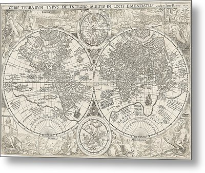 Antique Maps - Old Cartographic Maps - Antique Map Of World In Latin, 1594 Metal Print