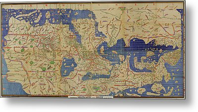 Antique Maps - Old Cartographic Maps - Antique World Map By Idrisi Metal Print
