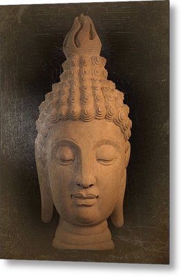 antique oil effect Buddha Sukhothai Metal Print by Terrell Kaucher