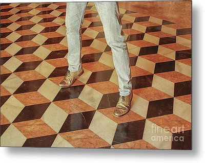 Metal Print featuring the photograph Antique Optical Illusion Floor Tiles by Patricia Hofmeester