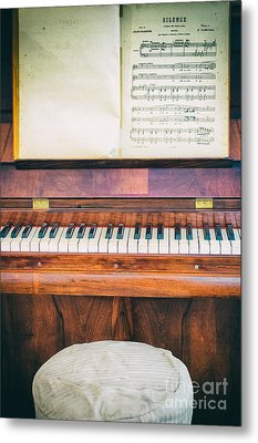 Metal Print featuring the photograph Antique Piano And Music Sheet by Silvia Ganora