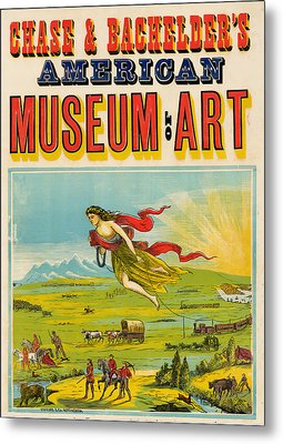 Antique Poster Chase And Bachelder's American Museum Of Art 1875 Metal Print