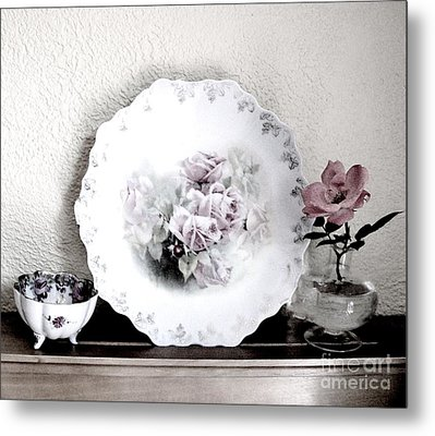 Antique Roses Of Old Metal Print by Marsha Heiken