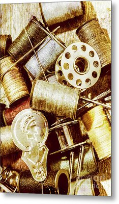 Antique Sewing Artwork Metal Print