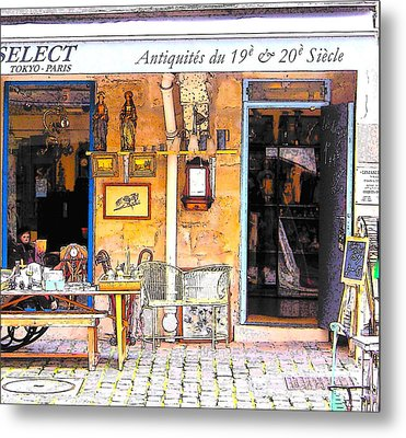 Antique Shop In Paris Metal Print by Jan Matson
